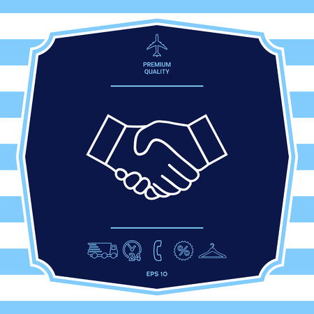 Handshake line icon Ilustrace