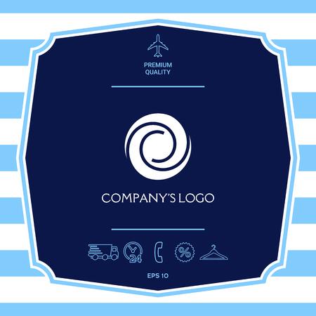 Logo - two spirals in a circle - a flower bud, camera aperture