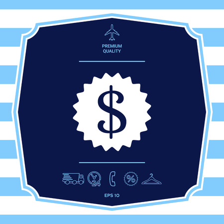 Dollar symbol on medal - icon. Element for your design
