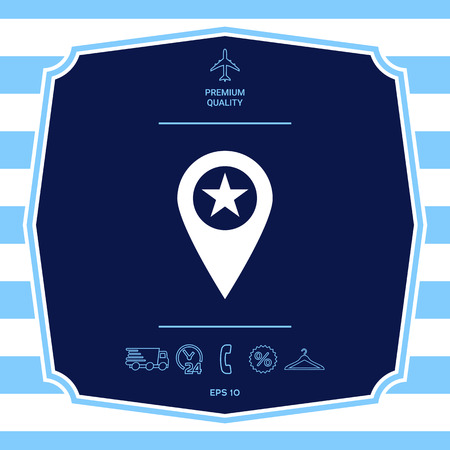 Map pointer with star Stock Photo