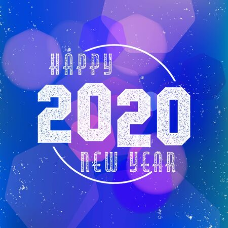 Happy New Year 2020 - the banner, greeting card with bokeh on blue background