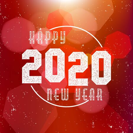Happy New Year 2020 - the banner, greeting card with bokeh on red background