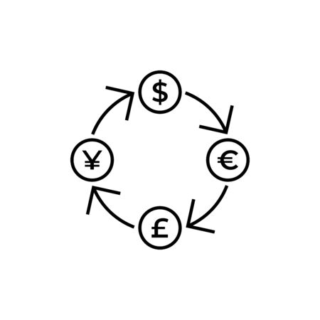 Conversion, currency exchange - with symbols of dollar, pound sterling, yen and euro - line icon. Graphic elements for your design