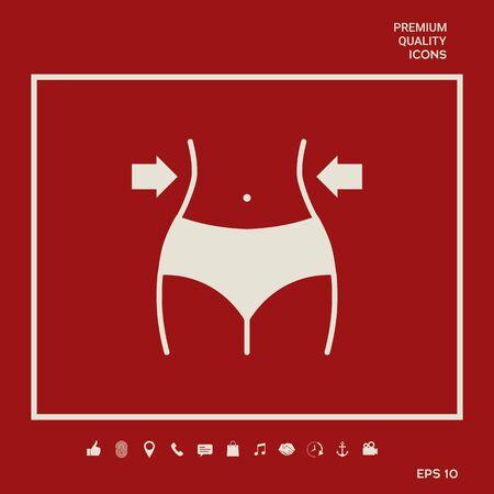 Women waist, weight loss, diet, waistline icon Vettoriali