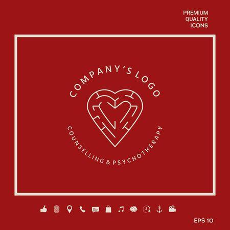 Line symbol, Logo - a heart with the labirint