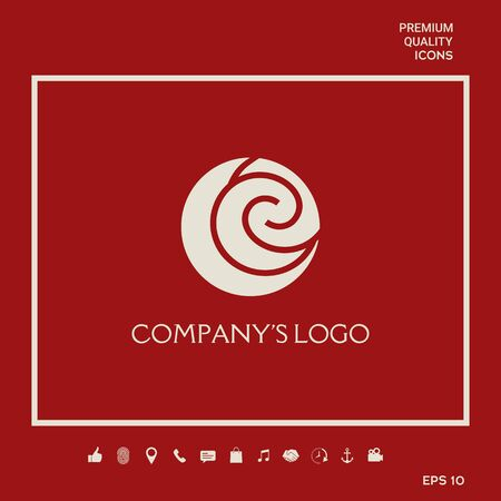 Logo - two spirals are located asymmetrically in a circle