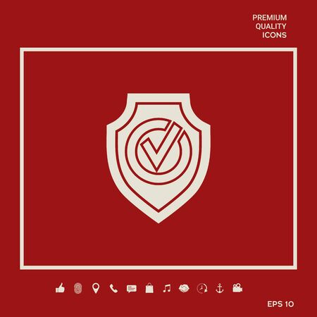 Shield with Check mark icon Illusztráció