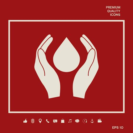 Hands holding drop - protection symbol