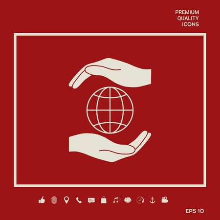Hands holding Earth - protect icon Illustration