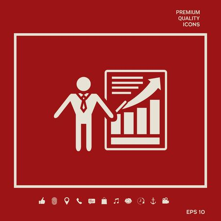 Presentation sign icon. Man standing with pointer near the infographic