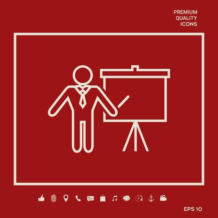 Presentation sign - line icon. Man standing with pointer near the flip chart.