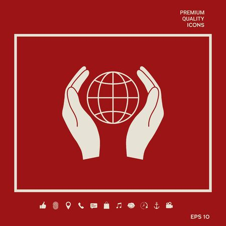 Hands holding Earth. Protect icon