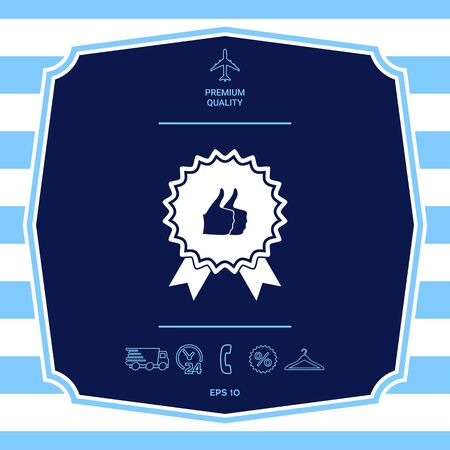 Two symbols Thumb Up Gesture - label with ribbons. Thumb up icon - the highest score, the best choice, the highest rating