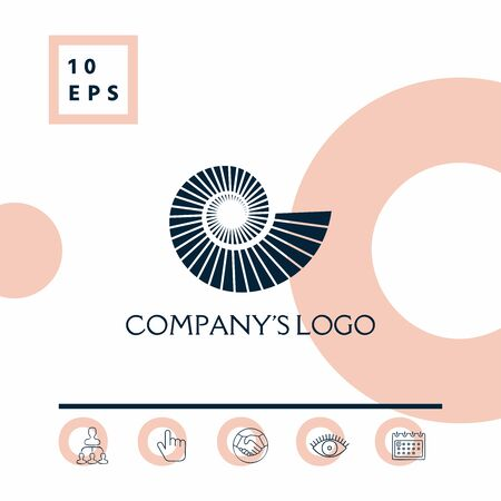 Logo spiral, shell symbol. Elements for your design