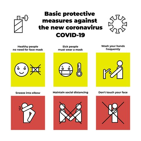 Basic protective measures against the new coronavirus COVID-19 - infographic. Icons, elements for your design