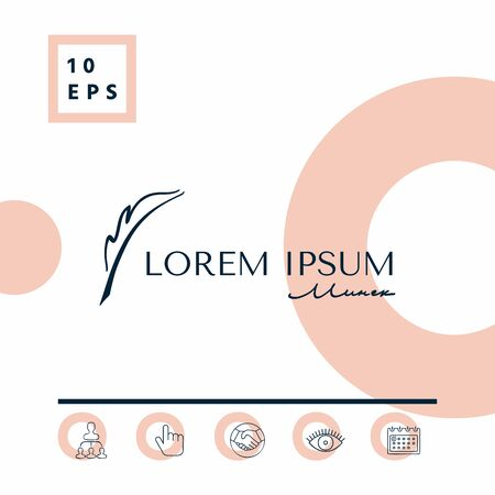 Elegant logo with Fountain pen. Element for your design