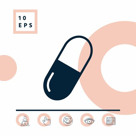 Pill symbol icon, elements for your design Vectores