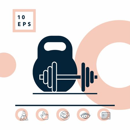 Kettlebell and barbell icon. Elements for your design