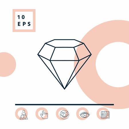 Diamond sign. Jewelry symbol. Gem stone. Flat simple design - line icon. Element for your design