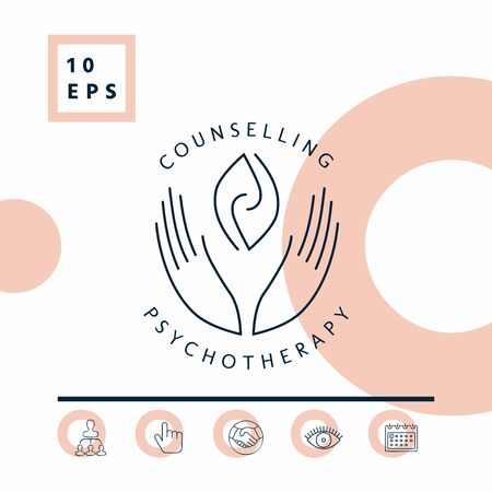 Logo - hands support two hemispheres of the brain, two leaves, two spirals, fire tongues