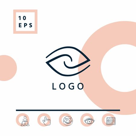 Logo - two hemispheres of the brain, two leaves, two spirals, an eye with a pupil