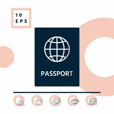 Passport icon symbol, elements for your design