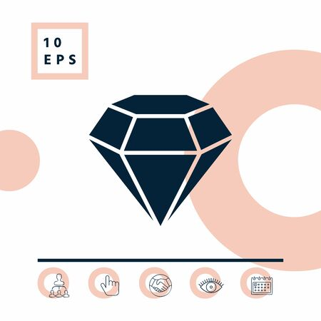 Diamond sign. Jewelry symbol. Gem stone. Flat simple design. Element for your design