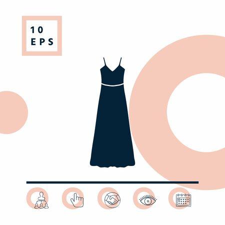 Long Dress, Evening dress or sundress with belt , the silhouette. Illustration