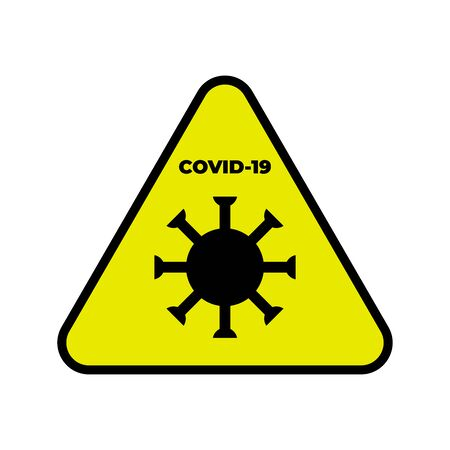Coronavirus Icon. Yellow triangle hazard sign. Graphic element for your design