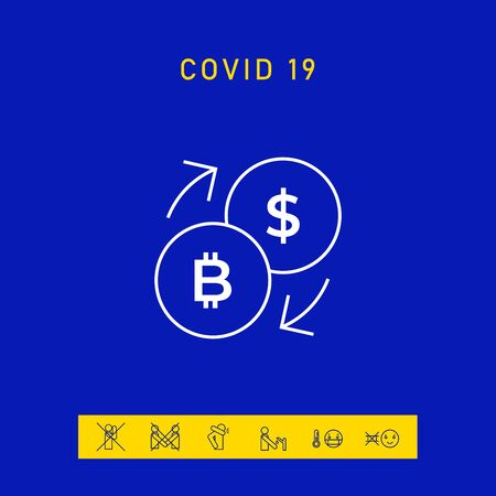 Conversion, currency exchange - with symbols of dollar and bitcoin - line icon. Graphic elements for your design Ilustração