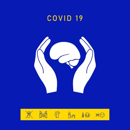 Hands holding brain - protection icon