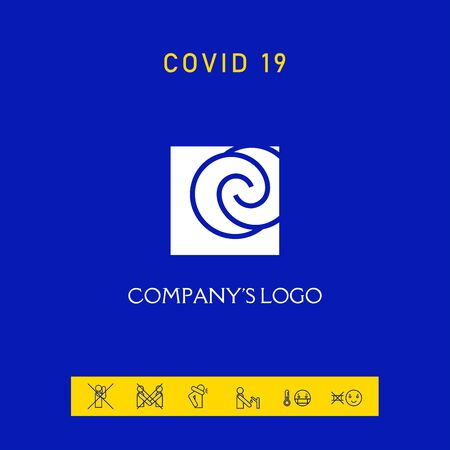 Logo - two spirals are located asymmetrically in a square Ilustração