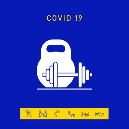 Kettlebell and barbell icon. Elements for your design 向量圖像