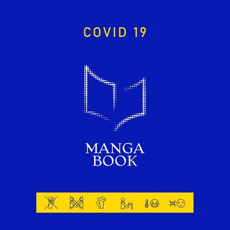 Elegant halftone logo with book symbol. Element for your design 向量圖像