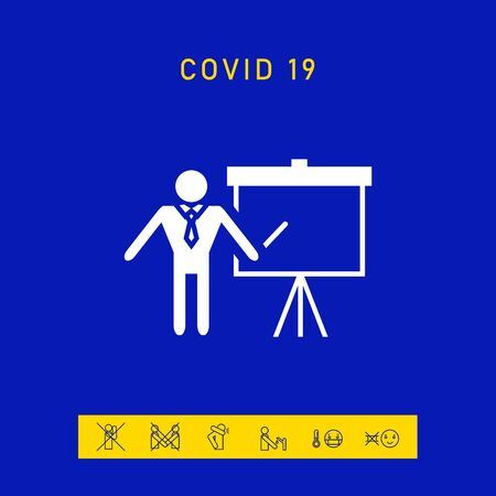 Presentation sign icon. Man standing with pointer near the flip chart.