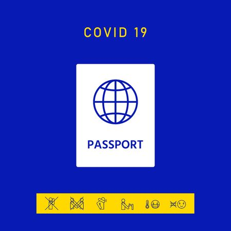 Passport icon symbol, elements for your design