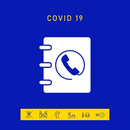 Notebook, address, phone book icon with handset symbol, elements for your design