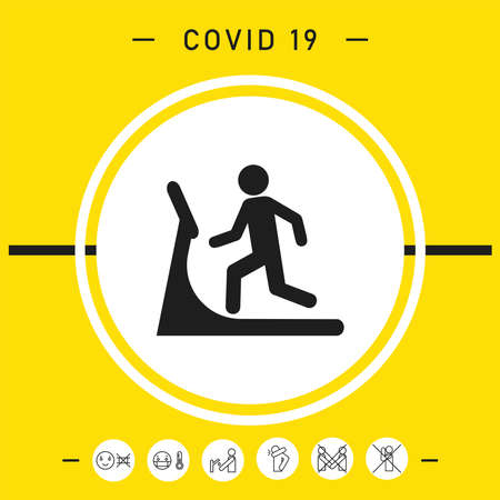 Man on treadmill icon, elements for your design