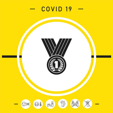 Medal with Laurel wreath. Icon, elements for your design Vettoriali