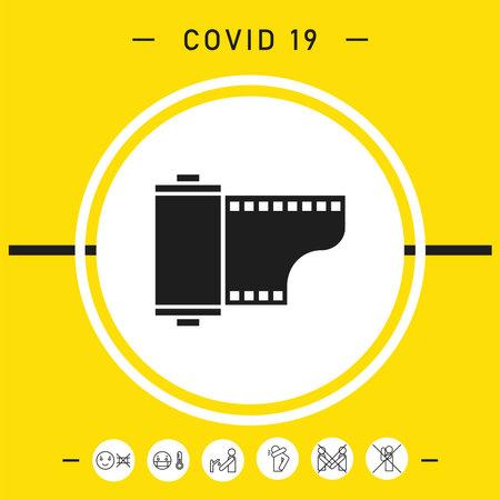 Photographic film cassette icon, elements for your design Vettoriali
