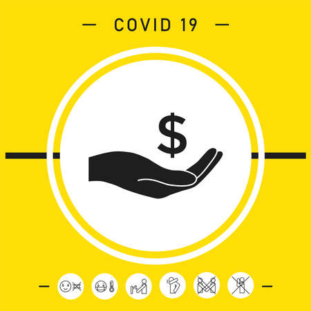 Money in hand, dollar symbol icon, elements for your design Vettoriali