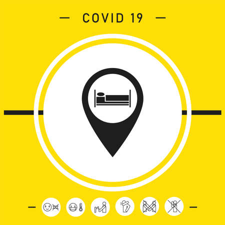 Map pointer icon with hostel or hotel sign. Signs and symbols for your design