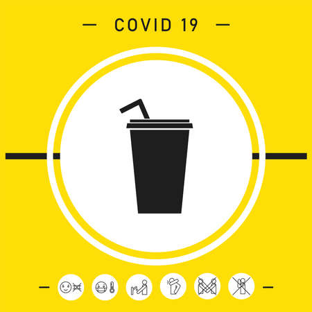 Paper cup with drinking straw icon, elements for your design