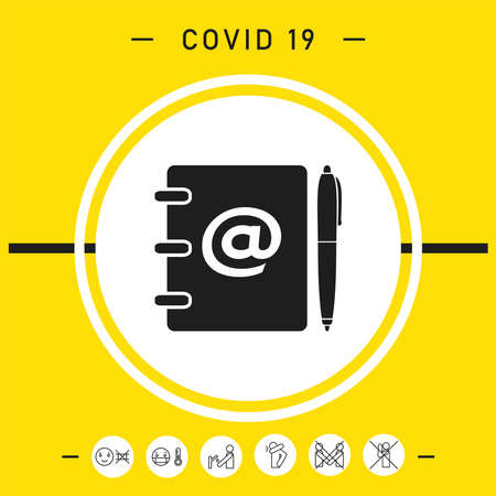 Notebook, address, phone book with email symbol and pen icon, elements for your design Vettoriali