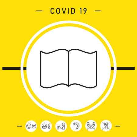 Open book symbol icon, elements for your design