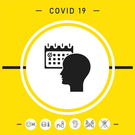 Planning, time management, person with calendar - icon Vettoriali