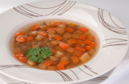 Un plato de caldo de verduras grueso Scottish Foto de archivo - 19220736