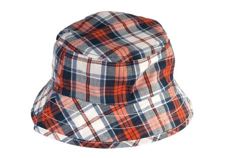 sun hat: Tartan summer hat on a white background Stock Photo