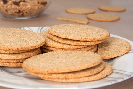 milled: Fine milled Scottish oatcakes on a plate