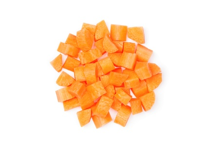 Diced carrot over white background
